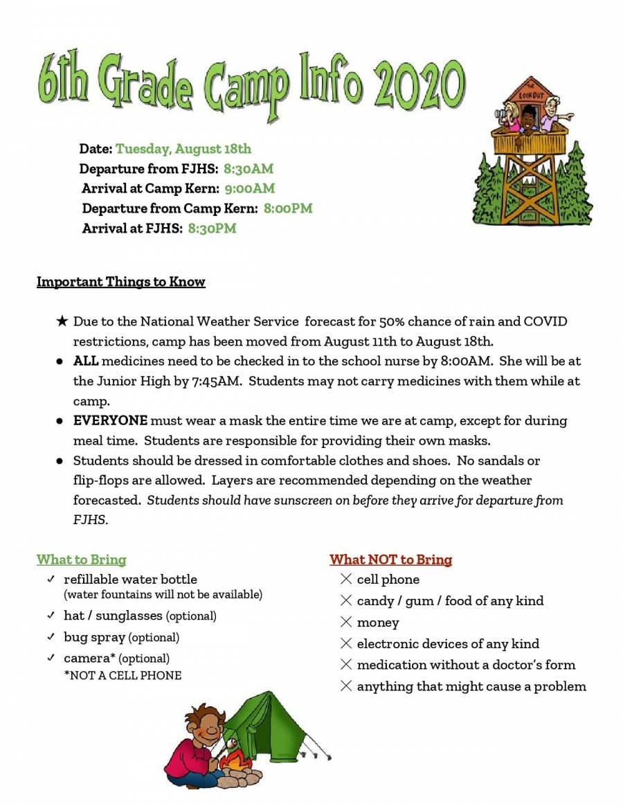 6th Grade Camp News