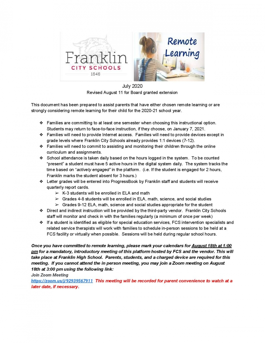 Remote Learning Guidelines Fall Semester 2020