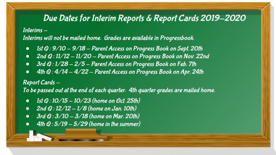 Report Card Deadlines 19-20 School Year